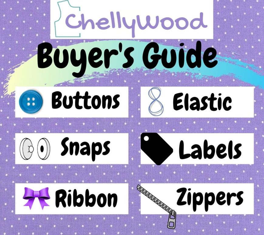"""The image shows a purple, white, and turquoise colored infographic with the title """"Buyer's Gide"""" at the top, and the following elements listed within the text boxes of the infographic: buttons, snaps, ribbon, elastic, labels, zippers. The watermark says """"ChellyWood"""" to remind you that you can get lots of doll clothes sewing advice and free patterns at ChellyWood.com"""