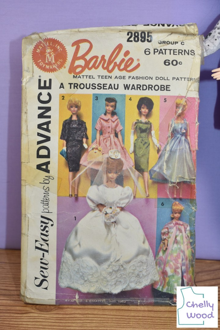 This image shows Sew-Easy Patterns by Advance vintage Mattel, Inc. Toymakers Barbie doll clothes sewing pattern #2895, which includes patterns for 1. Bridal Gown, 2. Dress and Jacket, 3. Afternoon Dress, 4. Engagement Dress, 5. Nightgown, and 6. Peignor.