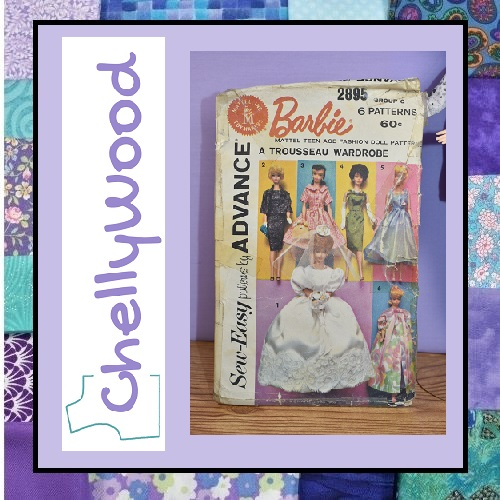 """Image of """"Sew-Easy Patterns by Advance"""" vintage Mattel, Inc. Toymakers Barbie doll clothes sewing pattern #2895 with the ChellyWood logo, surrounded by a variety of quilting fabrics in turquoise blue and purple."""