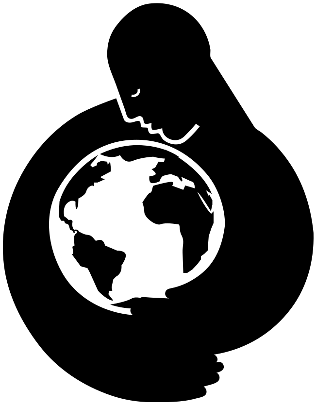 The image shows a human figure in silhouette, caressing a planet earth. The image is in black and white, and this free image is in the public domain, provided here by ClipSafari.com