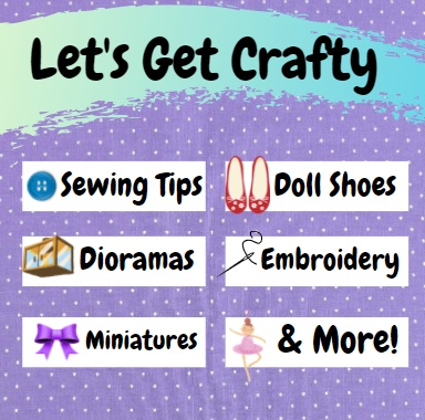 """At the top of this purple polka dot square image, it says, """"Let's get crafty."""" Below these words, six boxes suggest the following topics: sewing tips, dioramas, miniatures, doll shoes, embroidery, and a final category called """"and more."""""""