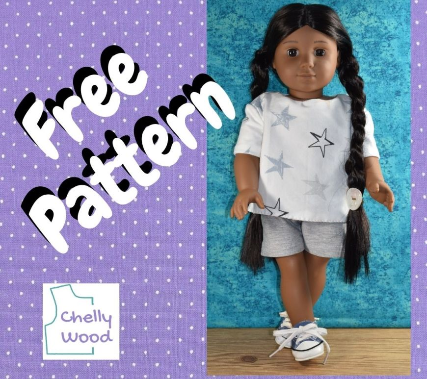 """On a purple dotted Swiss frame, we see the words """"free pattern"""" and the Chelly Wood dot com logo with a photo of a Kaya doll from American Girl dressed in a handmade white tee shirt with grey jersey fabric shorts."""