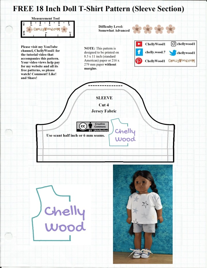 This is a JPG image of the sleeve pattern for an 18 inch doll tee shirt pattern that is easily downloaded as a PDF sewing pattern at ChellyWood.com, and on the pattern itself, we see an American Girl doll modeling the completed tee shirt that you can make with this free printable sewing pattern.