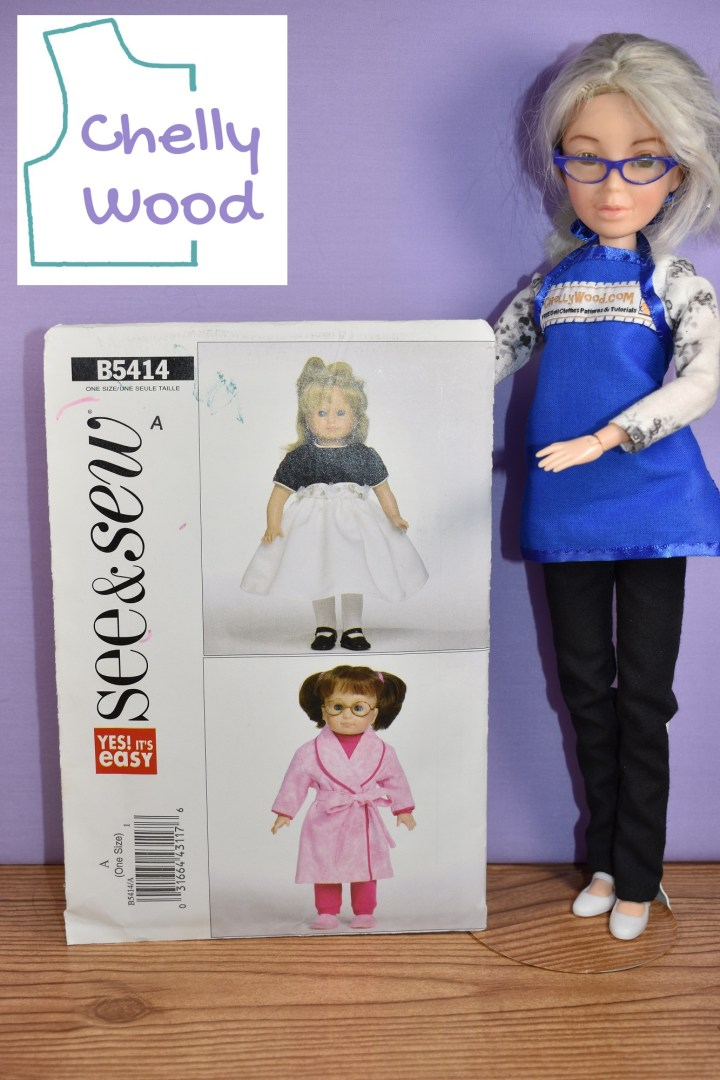 Here we see the Chelly Wood doll holding up the See and Sew Pattern number B5414, published by Butterick in 2009. The front of the doll pattern shows two different 18 inch dolls wearing a.) the sweat pants suit with the bathrobe worn over the top and b.) the holiday dress with black velvet bodice and crinoline or other fancy fabric for the white skirt portion. The watermark reminds us that this pattern's review can be found at ChellyWood.com