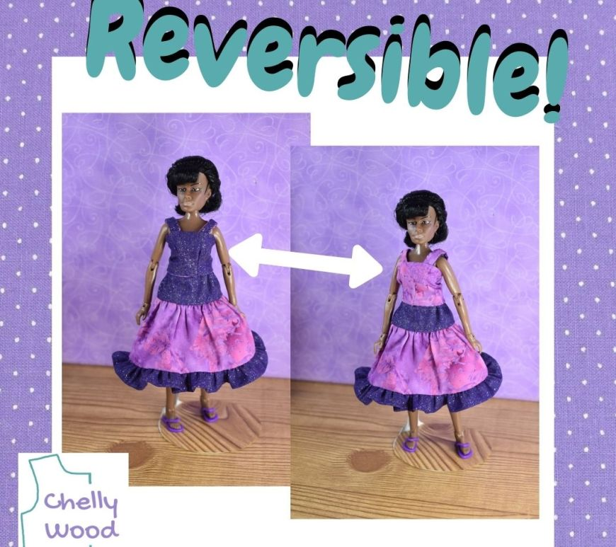"""On a purple polka dot background, layered photos of the Mego Lt. Uhura action figure wearing two sides of a reversible tank top (with layered skirt underneath) are shown. A two sided arrow reaches between the two images. The word """"Reversible"""" appears over the top of the two photographs, to indicate that the tank top is reversible (shown first in purple then in pink) but the layered skirt is likely not reversible."""