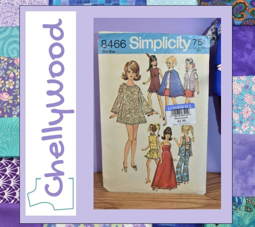 This image is a quilt-like square with the Chelly Wood logo turned on its side. Beside the logo, we see a photo of Simplicity doll clothes pattern 8466 from the late 1960's or early 1970's. The dolls on the cover of this pattern are dressed in various fashions including one long dress pattern that uses an empire waist.