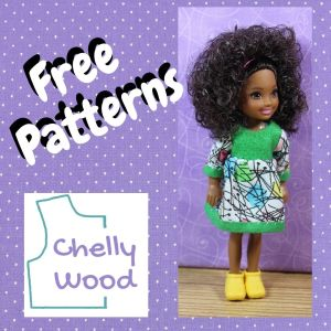 """In a purple square frame with tiny white dots, we see the words """"free patterns"""" accompanied by a photo of a Chelsea doll in a brightly colored handmade doll dress. The watermark is the logo for Chelly Wood dot com, a website known for its free printable doll clothes sewing patterns for dolls of many shapes and all different sizes."""