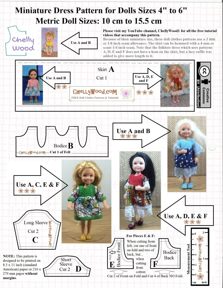 This is the JPG version of a free printable PDF sewing pattern for making dresses for dolls sizes 4 inches to 6 inches or 10 cm to 15.5 cm. Pictured on the pattern image are the following dolls, modeling dresses that were made using this pattern: the Heart Family baby doll, a Mattel Kelly doll, a 6 inch Strawberry Shortcake doll with yellow hair, and three Chelsea dolls of different makes and different eras. All of the dresses shown are made using a felt bodice with cotton skirt and some have sleeves. The pattern includes two different types of bodices, two different lengths of sleeves, and one skirt pattern.