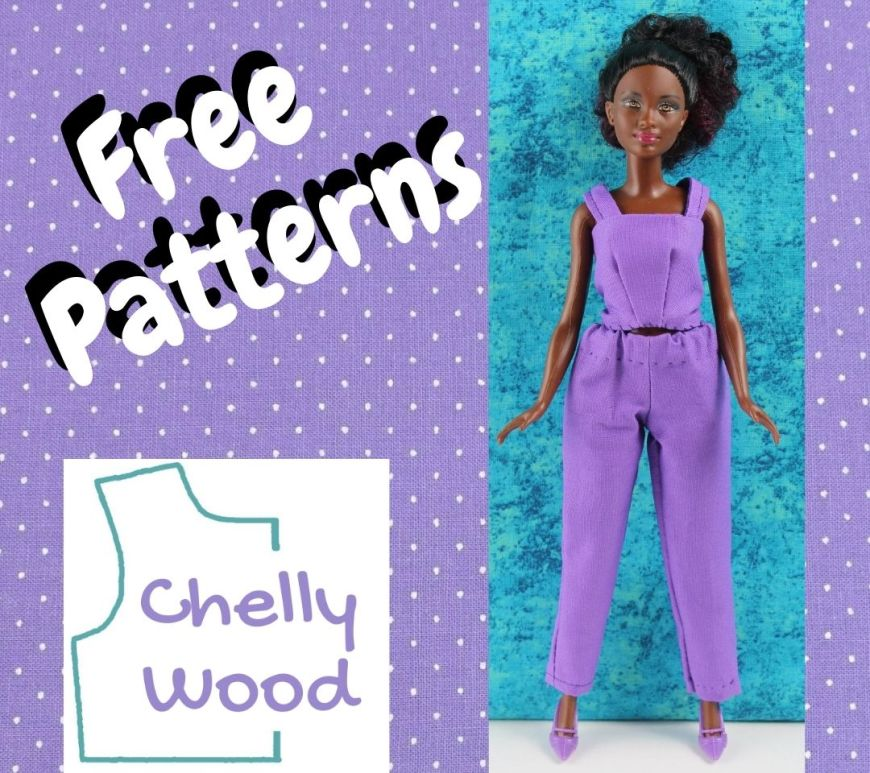 """On a purple polka dot background, we see the words """"free patterns"""" and a Mattel Petite Barbie wearing a handmade outfit, including a tank top and ankle pants. The Chelly Wood dot com website logo is also on the image."""