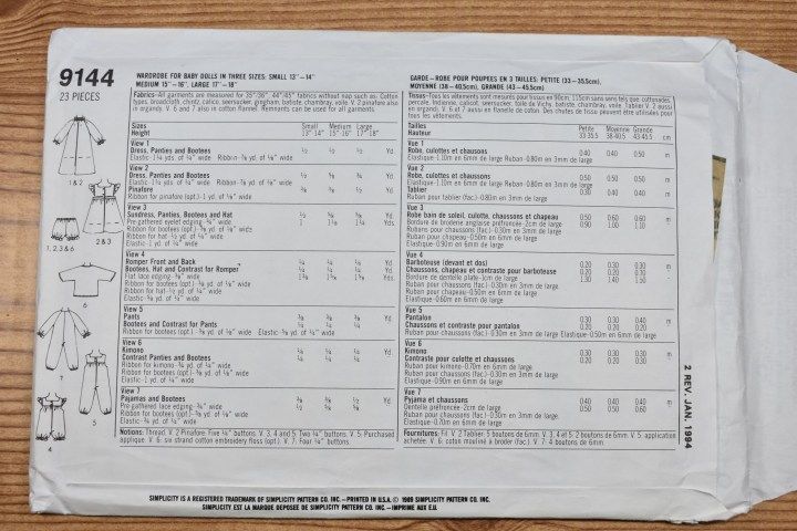 This is the back view of Simplicity Craft Pattern 9144, published by Simplicity in 1989. The image shows the specs for ribbon lengths and widths among other facts (like what type of fabric to use and how much you will need).