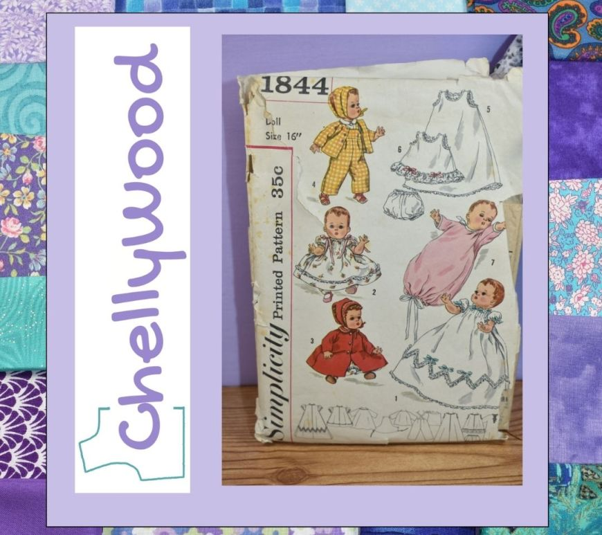 This is a quilted frame surrounding an image of vintage Simplicity doll clothes pattern number 1844 along with the logo for the free doll clothes pattern website Chelly Wood dot com.