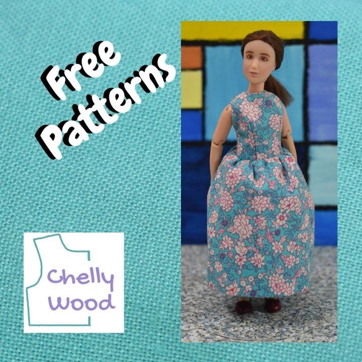 """Here we see a square swatch of turquoise blue linen fabric framing a photo of a 1:12 scale miniature doll wearing a tiny handmade cotton sleeveless dress. Over the image, it says, """"free patterns"""" and we also see the Chelly Wood logo in one corner of the turquoise frame."""