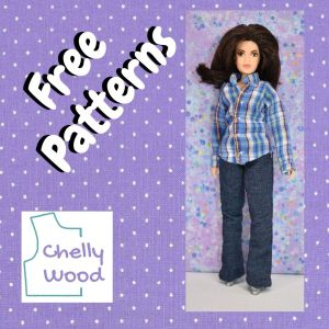 """This image shows purple cotton fabric with tiny white polka dots behind the image of a female Mego action figure wearing handmade jeans and a long sleeved shirt. Turned at an angle near the photo of the action figure are the words """"free patterns"""" and below that in the left-hand corner of the purple square is the Chelly Wood dot com logo."""