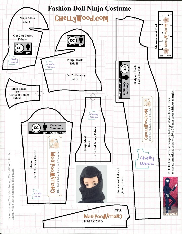 Here we see the JPG image of a free printable PDF sewing pattern for making a Barbie-sized Ninja costume. This pattern is designed by Chelly Wood, a doll clothing designer who runs ChellyWood.com, a free doll clothes sewing pattern website. To download the PDF or to watch the free tutorial videos showing how to make this ninja cosplay costume / ninja Halloween outfit, please visit ChellyWood.com and look for this costume under 11 to 11 and a half inch doll clothes patterns. From there, navigate to cosplay costumes and historical costumes.