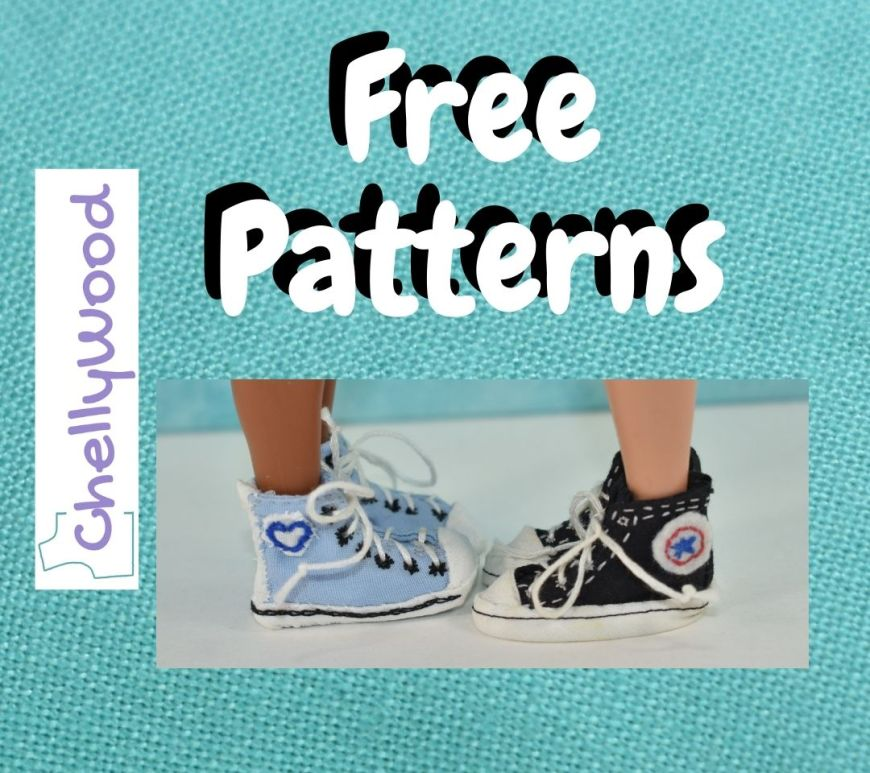 """A turquoise blue linen frame surrounds the Chelly Wood dot com logo, a photo of two dolls' feet in two different pairs of sneakers, and the words, """"free patterns."""""""