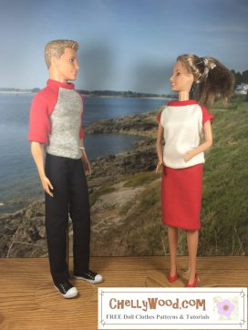 Visit ChellyWood.com for free, printable sewing patterns to fit dolls of many shapes and sizes. Image shows Ken doll wearing jeans and a raglan-style T-shirt. He stands next to a Barbie doll who wears a raglan-sleeved T-shirt with a pencil-style knit skirt. They appear to be chatting on a boardwalk overlooking an ocean view. The sky is sunny behind them. Visit Chelly Wood Dot Com for more free, printable sewing patterns like this one.