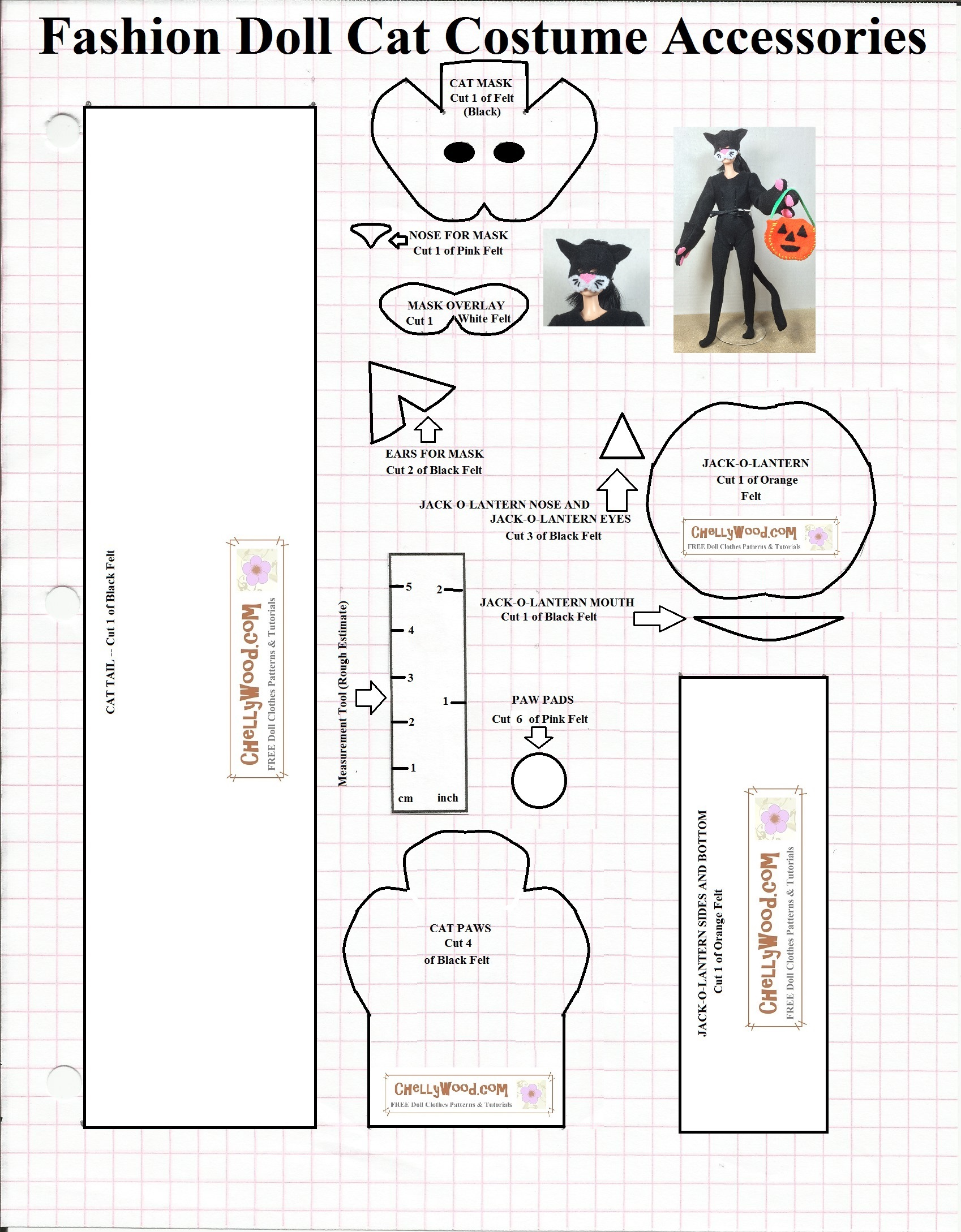 Free Printable Sewing Pattern For Dolls Halloween Cat Mask Free Printable Doll Clothes