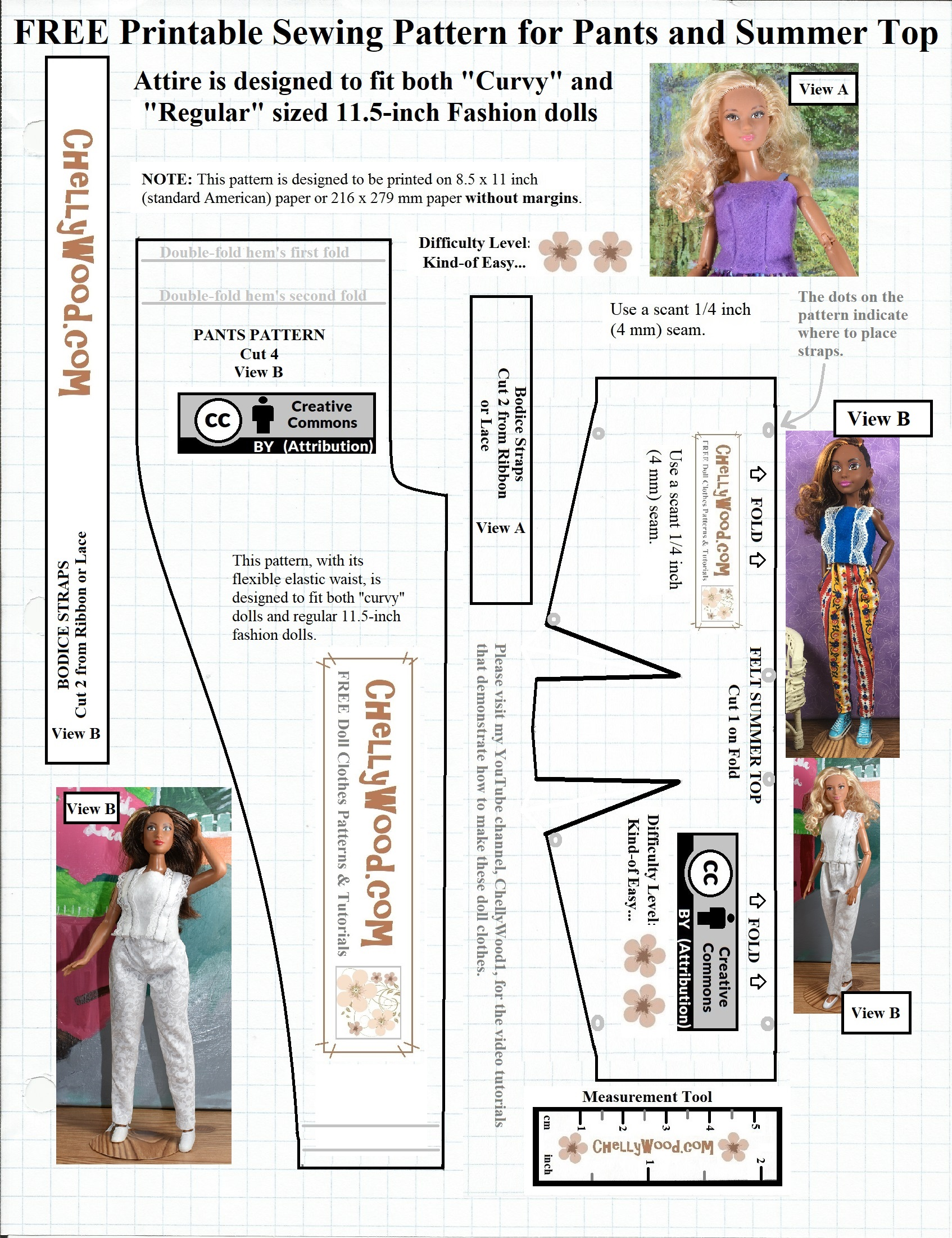 Free Sew Pattern For Dolls Pants Comes W This Easydiy Tutorial Free Printable Doll