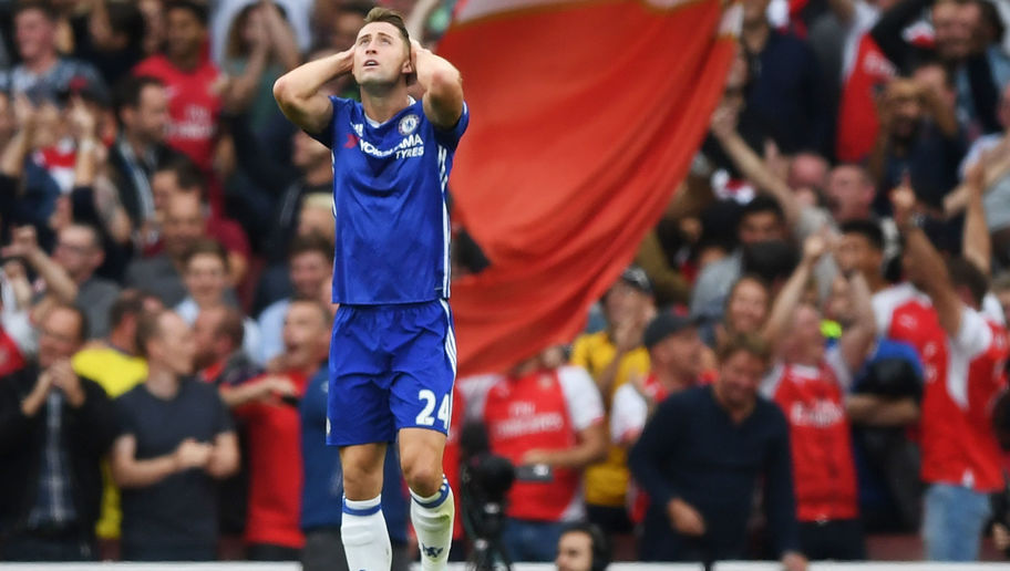 LONDON, ENGLAND - SEPTEMBER 24: Gary Cahill of Chelsea shows dejection after Arsenal score  during the Premier League match between Arsenal and Chelsea at the Emirates Stadium on September 24, 2016 in London, England.  (Photo by Shaun Botterill/Getty Images)