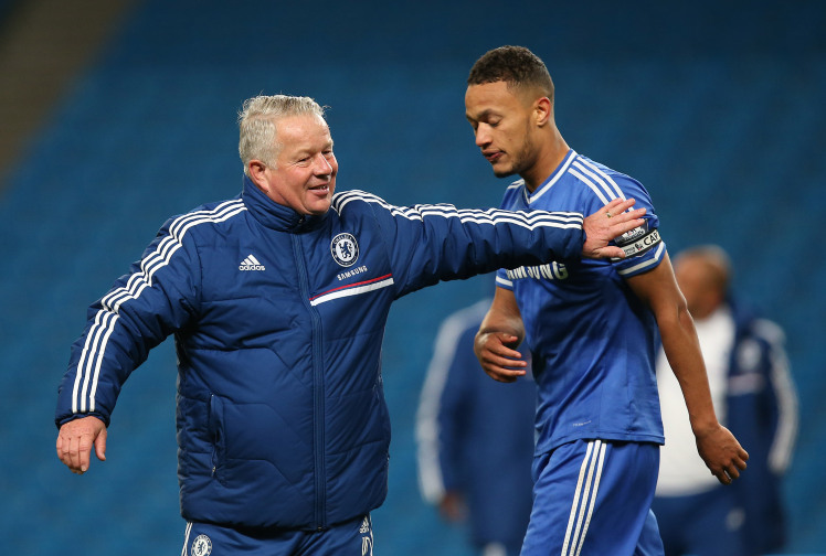 MANCHESTER, ENGLAND - MAY 01:  Manager of Chelsea FC U21 Dermot Drummy congratulates his captain Lewis Baker during the Barclays U21 Premier League match between Manchester City U21 and Chelsea U21 at Etihad Stadium on May 1, 2014 in Manchester, England.  (Photo by Jan Kruger/Getty Images)