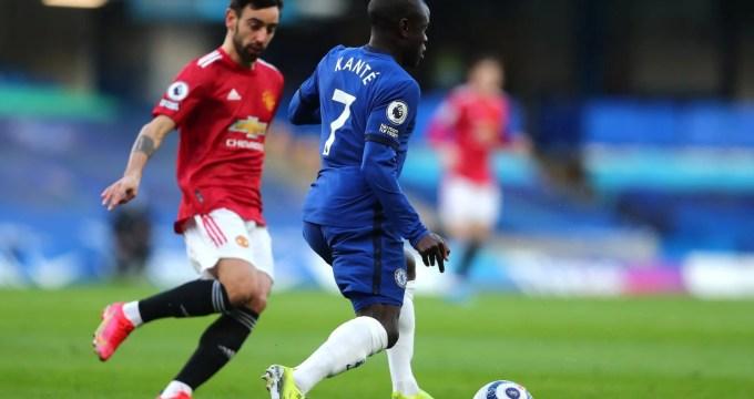 Kanté e Bruno Fernandes em Stamford Bridge
