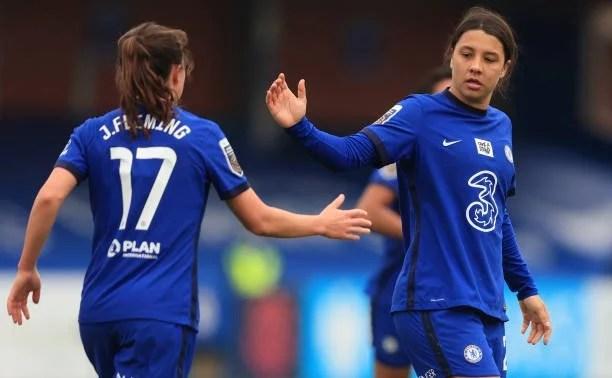 Fleming e Kerr comemorando na vitória do Chelsea contra o Aston Villa