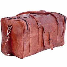 Leather duffel weekender bag