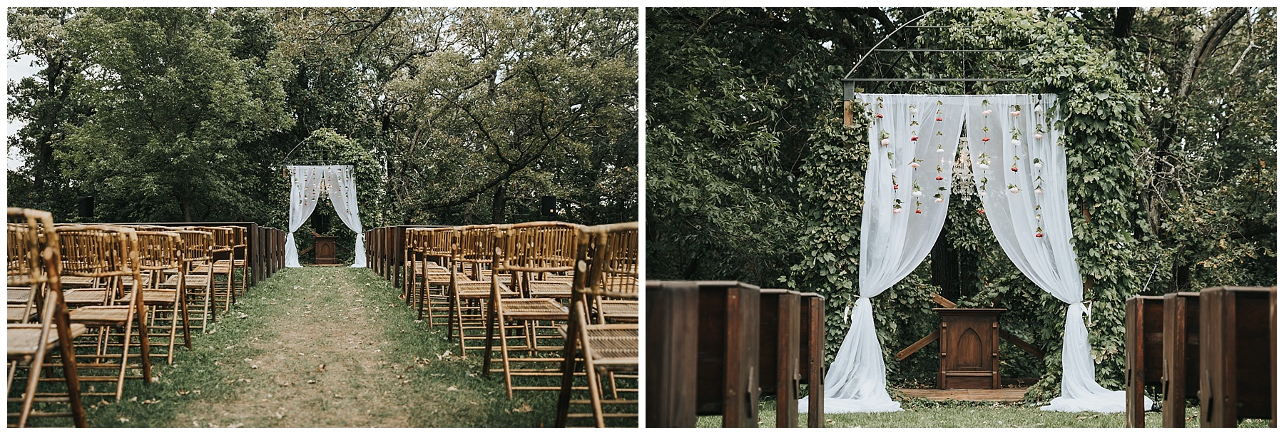 Outdoor ceremony arch at Diamond Oak Events