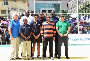 L-R (b-f): RW, Obenna Ekieze, Masai, Ujiri, Amadou, John Bandyie, Alana Beard, JMK, PH