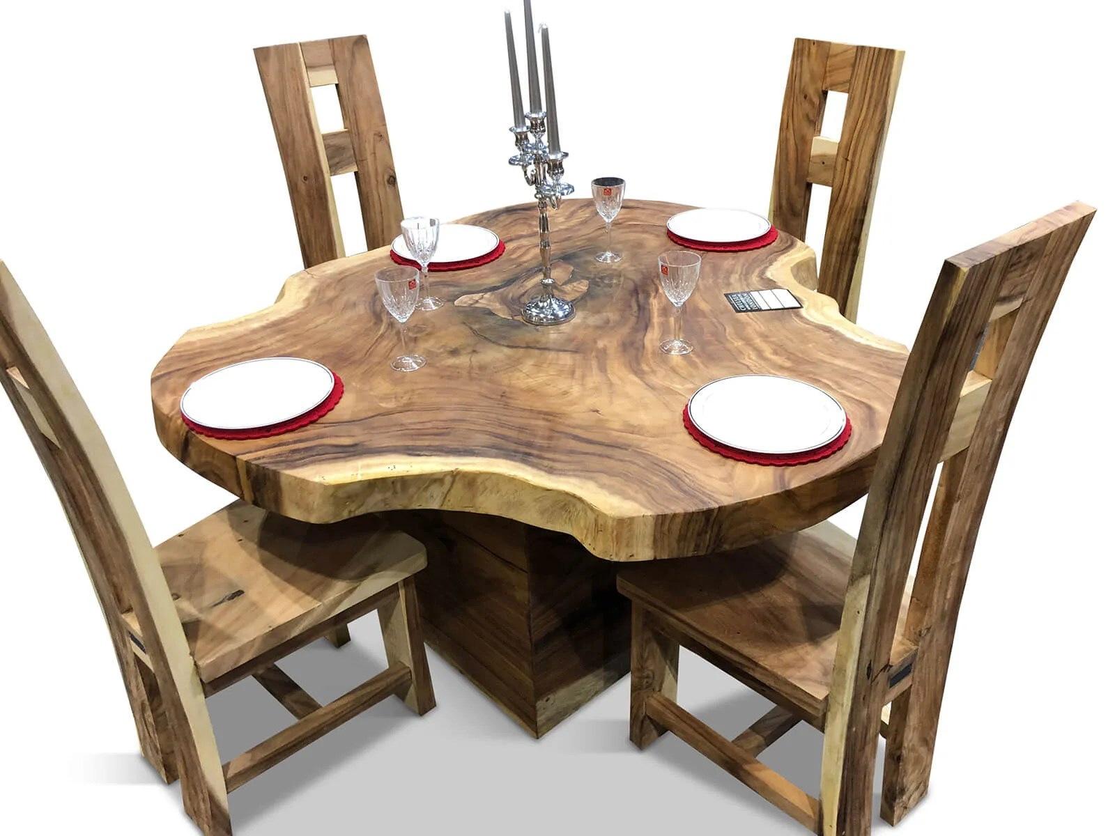 solid wooden table live edge round 150cm