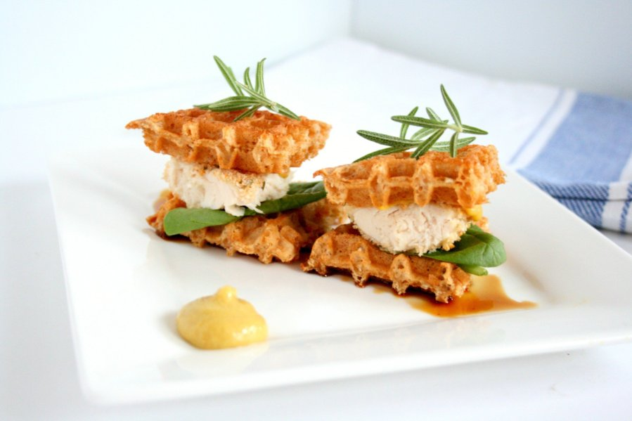 Chicken and waffles have quickly become a staple in the south. My chicken and waffles sandwich puts a healthy twist on the classic southern slider.