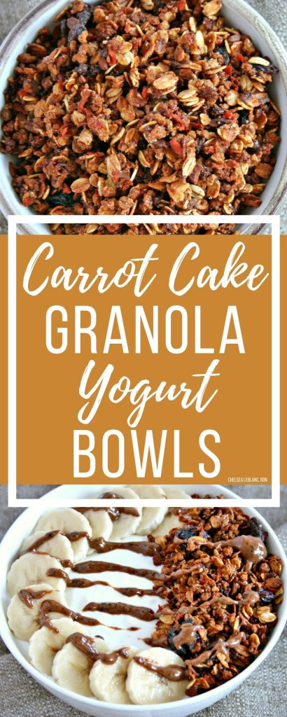 Cold and flu season is here again. Fight back with foods that boost gut health. My carrot cake granola yogurt bowl is a delicious place to start!#thereciperedux #yogurt #granola #carrotcakegranola