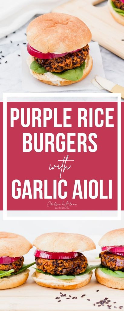 These purple rice burgers with garlic aioli are the best veggie burgers! Great for meatless Mondays & made with black beans & sweet potatoes!