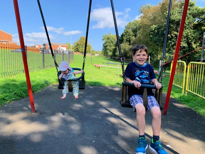 Lilah and Sebby swings