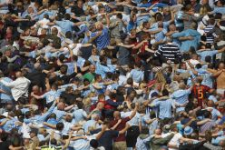 Manchester+City's+supporters+celebrate+a+goal+against+Chelsea+in+the+community+shield
