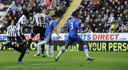 Newcastle United's Gutierrez heads to score against Chelsea during their English Premier League soccer match in Newcastle