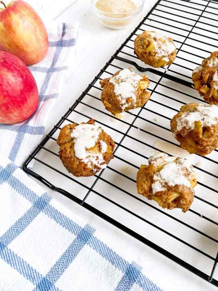 Apple Fritters on drying rack