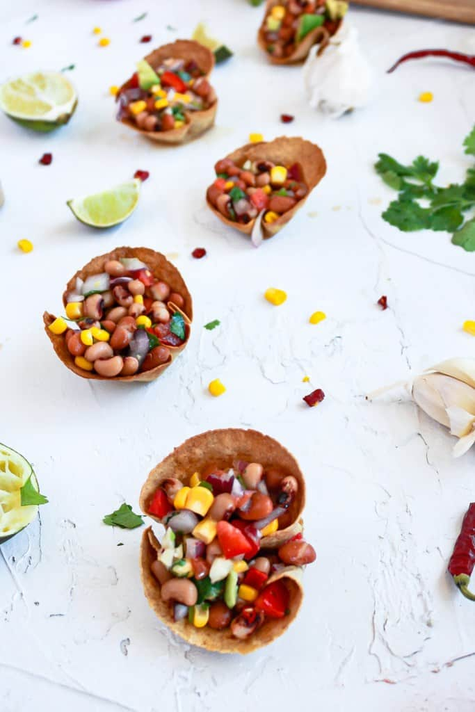 extreme close up of Individual Vegan Bean Dip Cups