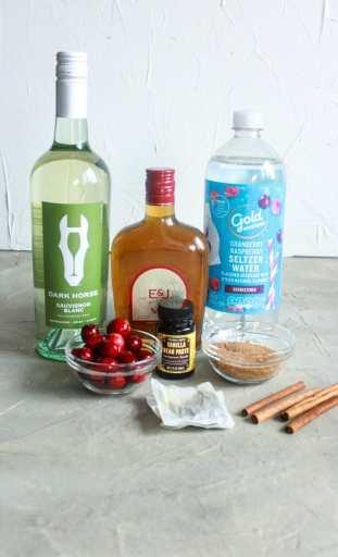Ingredients for Cranberry Vanilla Chai Sangria