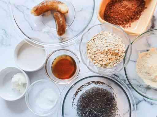 Ingredients for Gooey Vegan Protein Brownies