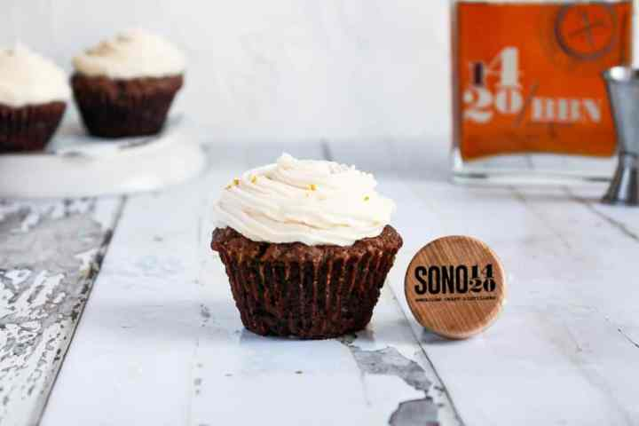 Picture of Chocolate Bourbon Cupcakewith white frosting