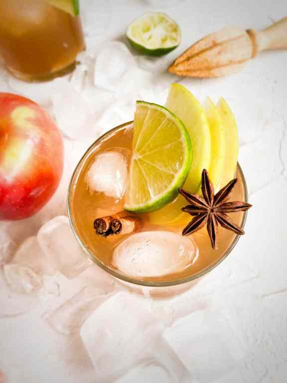 Up close shot of Apple Cider Moscow Mule with star anise, cinn sticks and apple slices