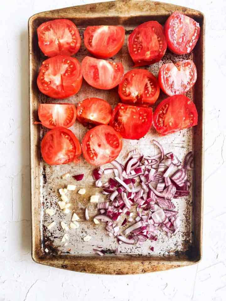 The vegetables in this recipe on sheet pan before going into oven