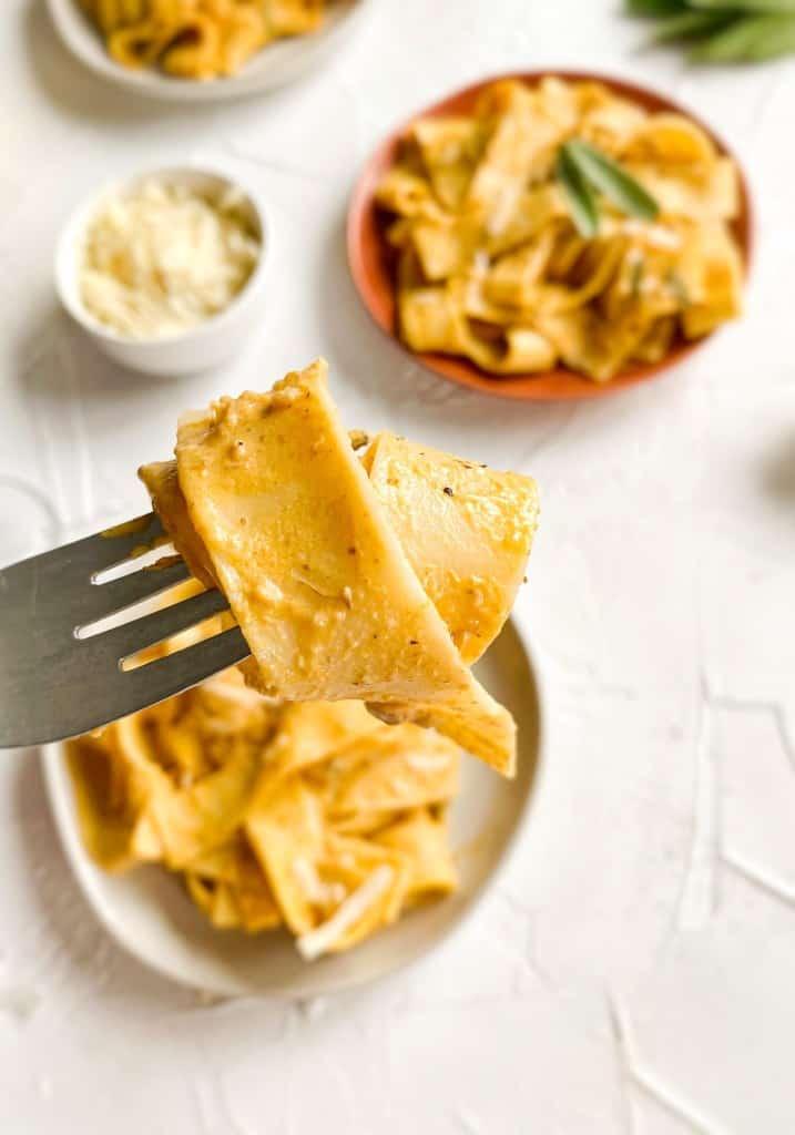 Pumpkin Sage Pasta up close on a fork