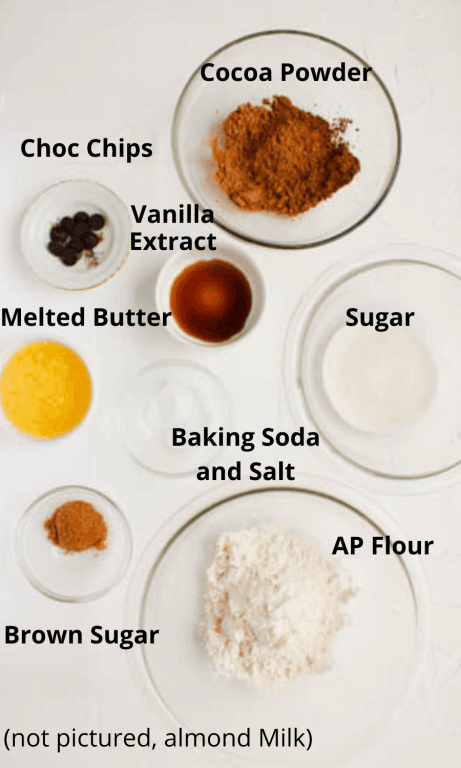 All ingredients for brownies laid out into separate bowls