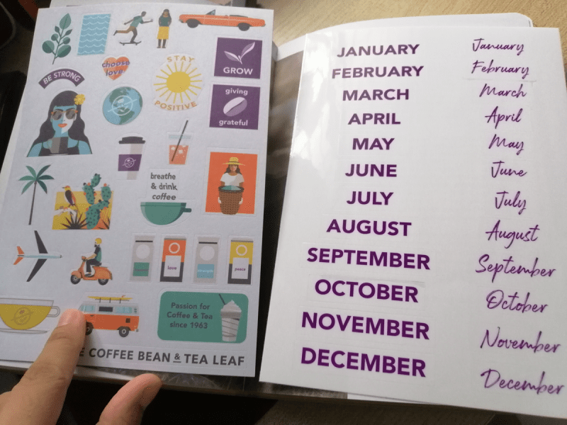 Stickers to label each month and compliment your mood.