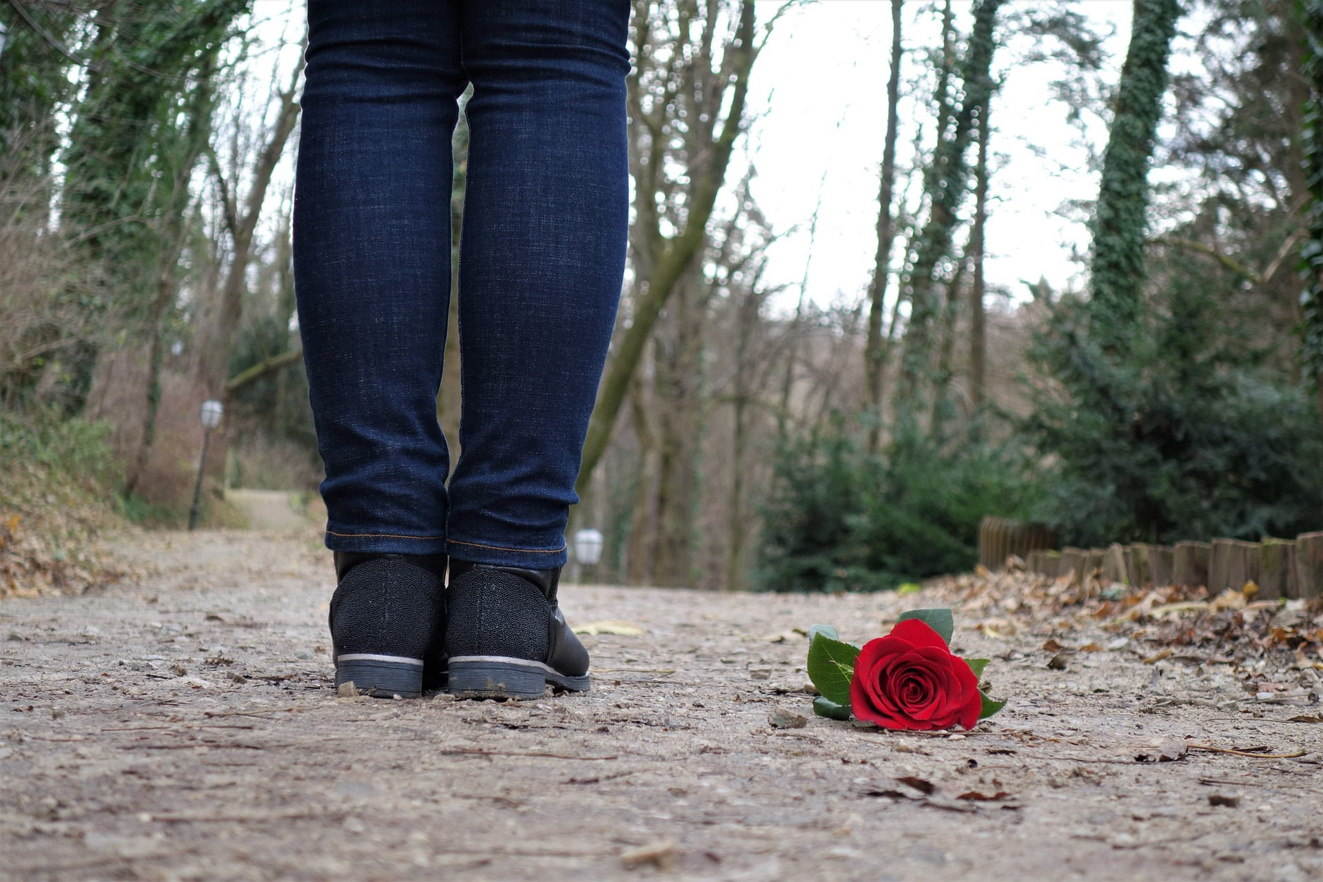 person standing on a road with a rose on the ground next to her feet