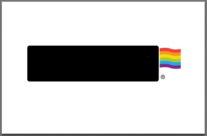 company logo with tiny rainbow flag in the corner