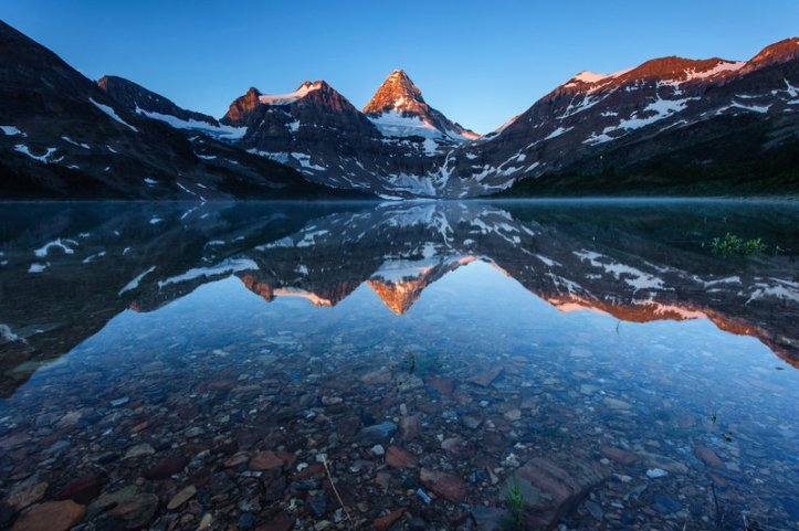 A mountain reflected in a lake