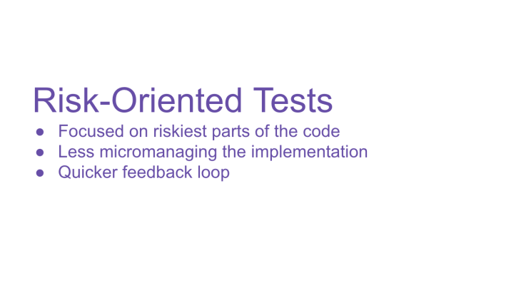 Risk Oriented tests